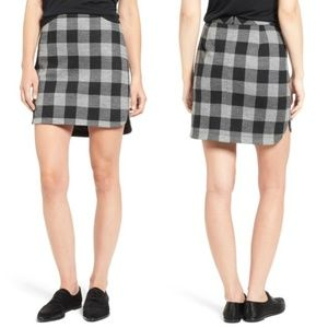Madewell, Plaid Shirttail Skirt, Black & Gray, 6
